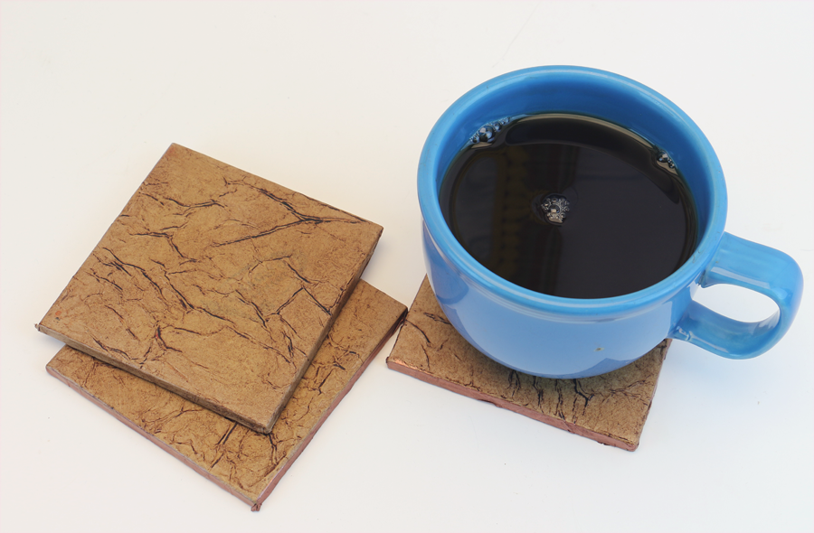 Man Cave on a Budget: Leather Look Tile Coasters Tutorial
