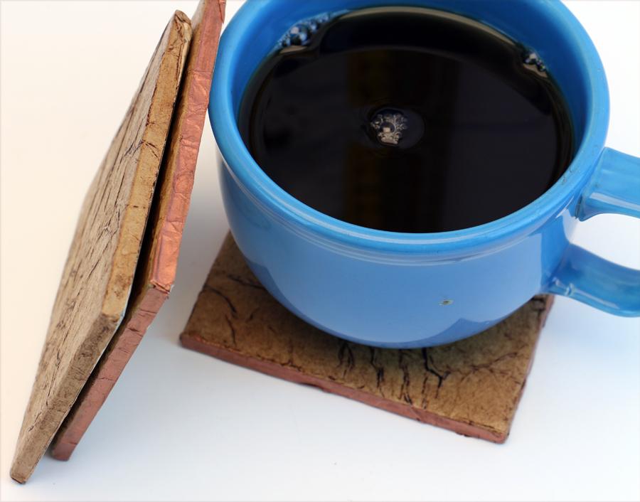 Copper Edge: Leather Look Tile Coasters