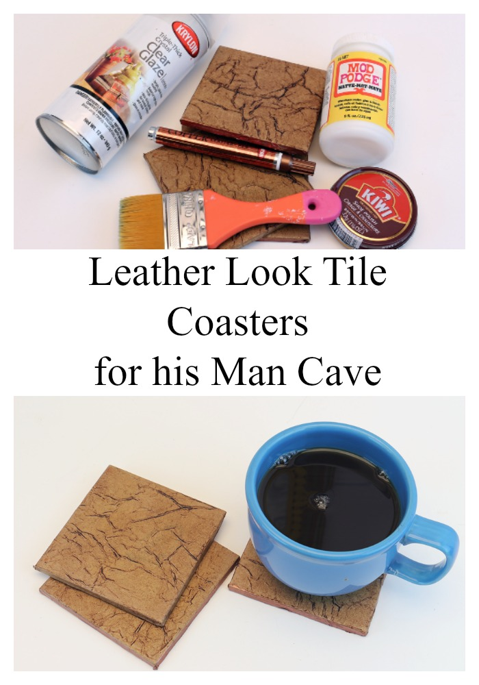 Leather Look Tile Coasters for His Man Cave
