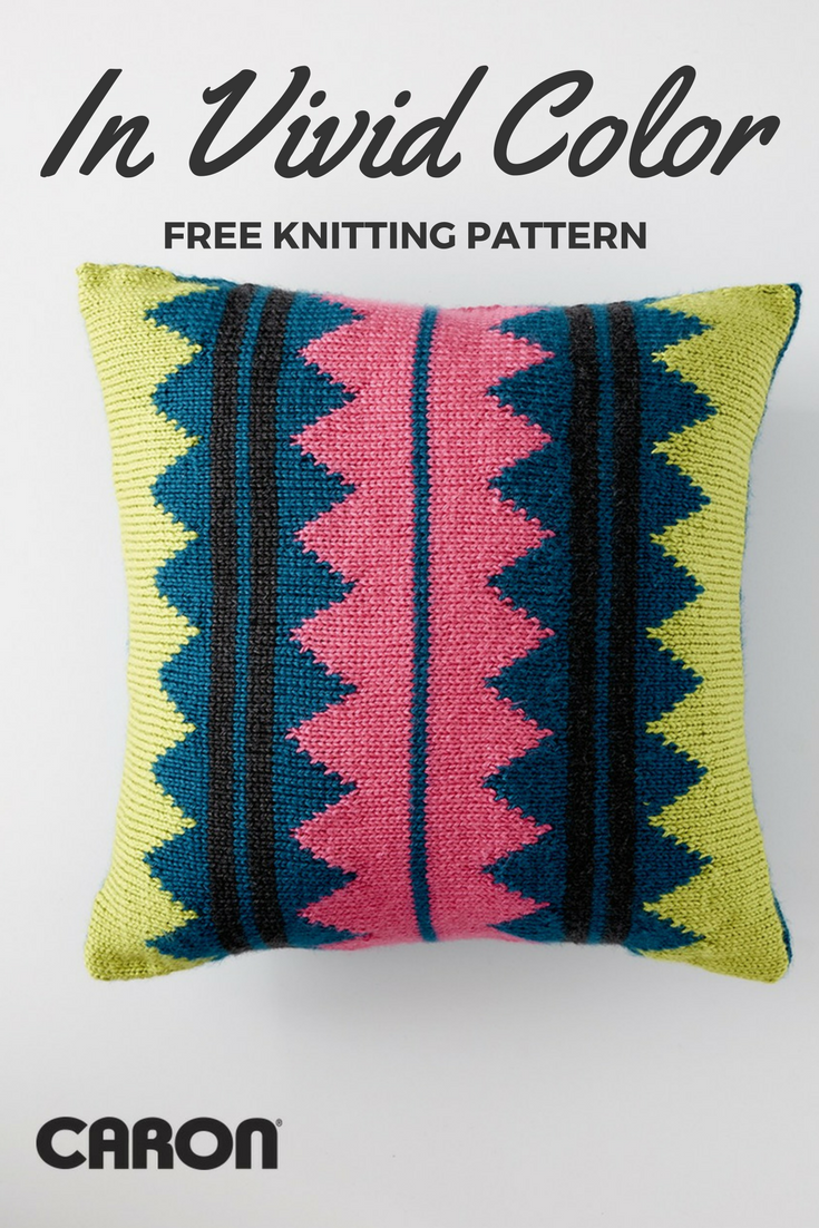 In Vivid Color Throw Pillow - Free Knitting Pattern - Do It Make It ...