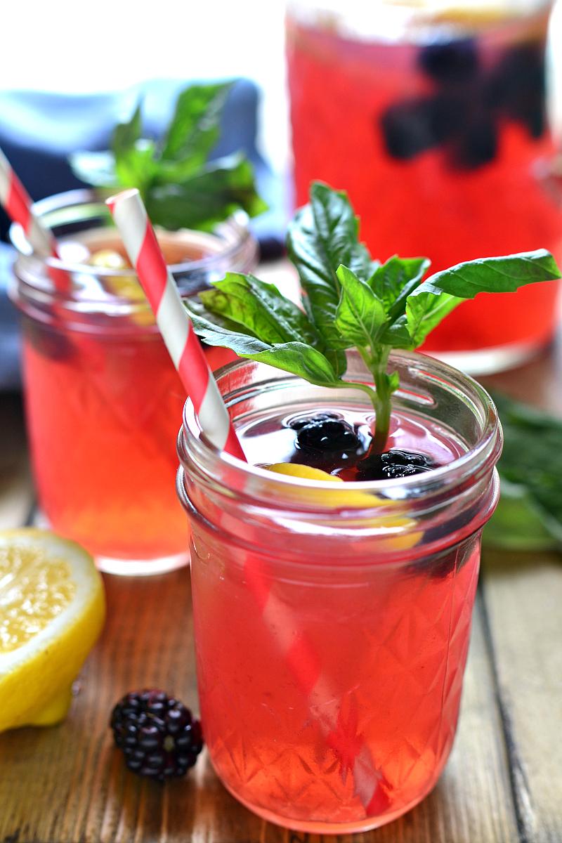 A Dozen Party Punch Recipes - Blackberry Basil Vodka Lemonade
