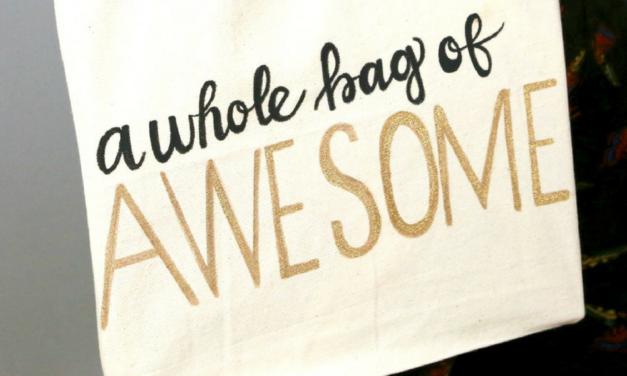 DIY Hand Lettered Tote Bag: Glitter Awesome Bag Tutorial
