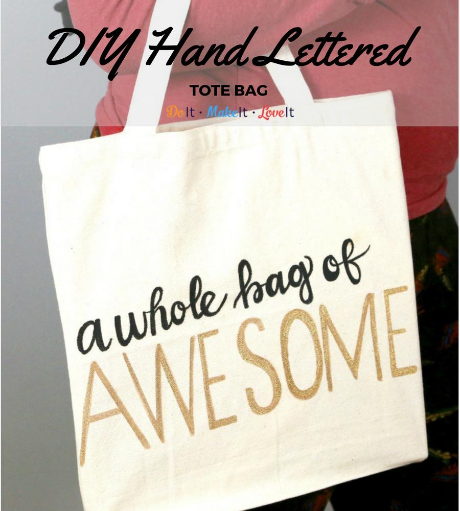 DIY Hand Lettered Tote Bag