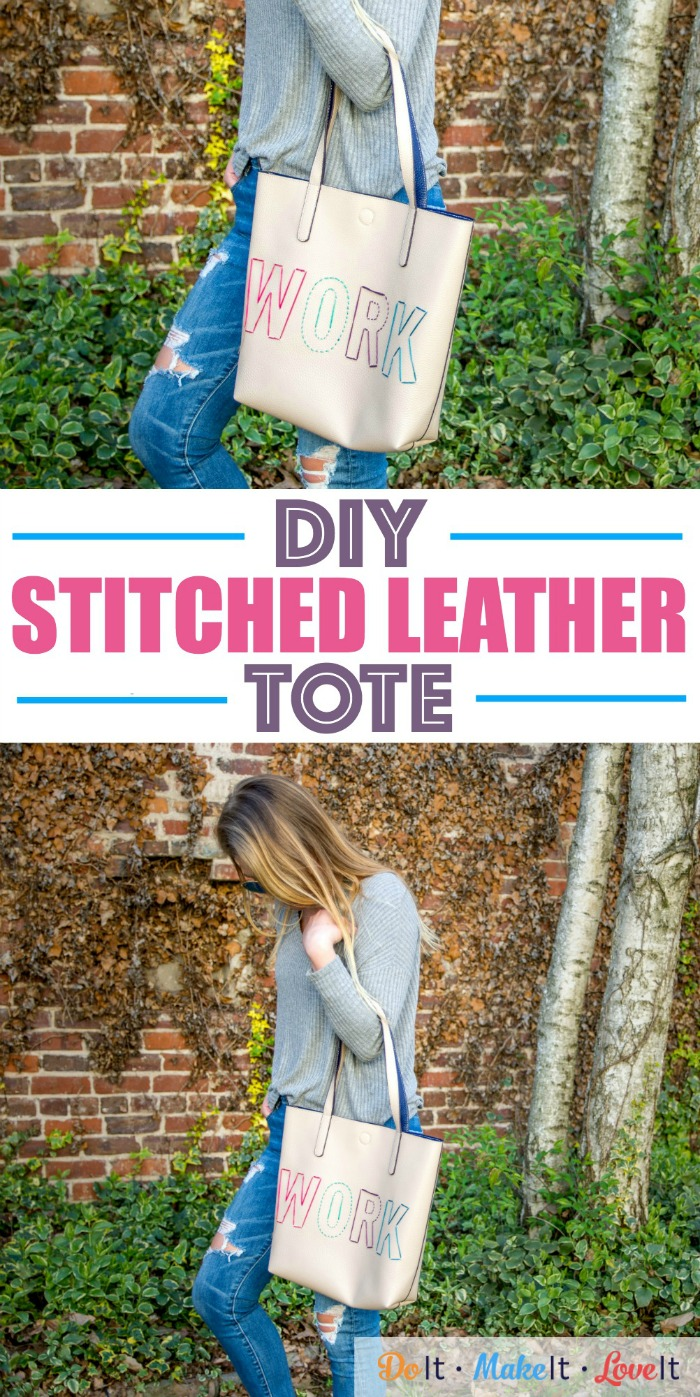 DIY Stitched Leather Tote