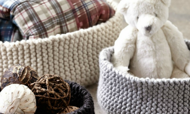 Handy Garter Ridged Knit Baskets – Free Knitting Pattern