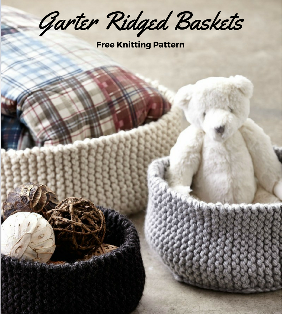 Garter stitch rigded knit basket pattern free knitting pattern garter ridged knit basket pattern bankloansurffo Images