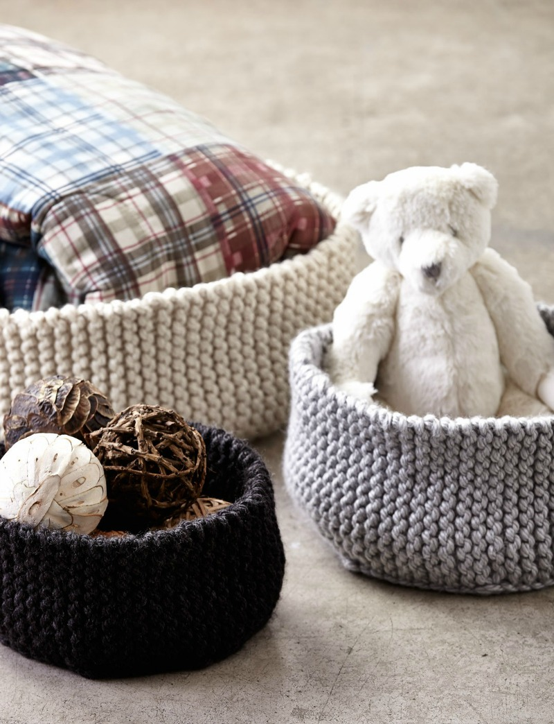 Garter Stitch Rigded Knit Basket Pattern Free Knitting Pattern
