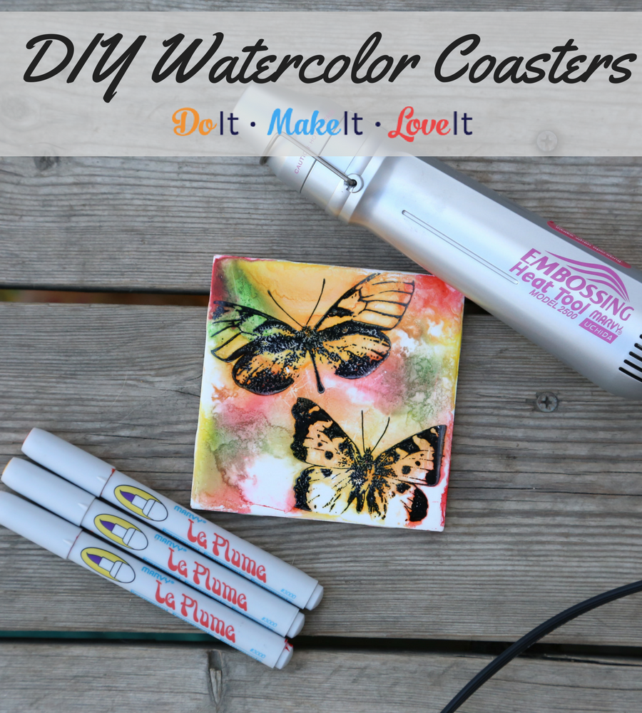 Butterfly watercolor coaster tutorial using alcohol inks watercolor coasters tutorial baditri Images