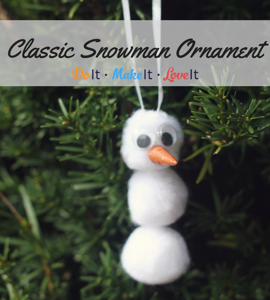 DIY Pom Pom Snowman Ornament #Christmas #Christmasornament #ornament #diy #tutorial #make it