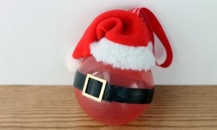 Glass Ball Santa Ornament